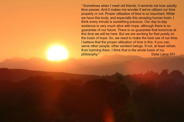 golden sunrise and a quote by the Dalai Lama XIV
