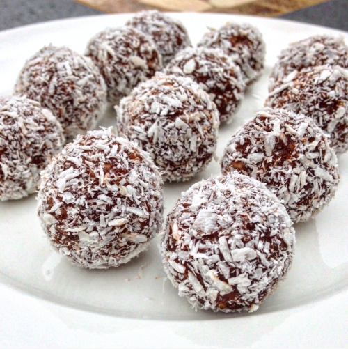 hazelnut and coconut energy truffles